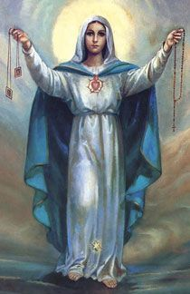 """Brown scapular and the rosary. Blessed Virgin Mary to Saint Dominic, """"One day through the Rosary & the Scapular I will save the world."""""""