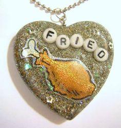 Munchie Reminder - fried chicken necklace  - marijuana innuendo insinuation - weed man - jewelry - pot head - bone head - resin - food - glitter