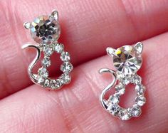 Kitty Floating Charm w/ Clear Rhinestones / by MiniatureSweet Cupcake Tumblr, Diy Earrings, Diamond Earrings, Tiny Cats, Origami Owl Jewelry, Floating Charms, Clear Crystal, Embellishments, Nail Art