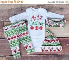 baby girl christmas outfitmy 1st christmas my first girl coming home outfitgirls christmasred and greenred deerleggingshatheadband