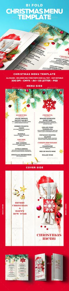 Red Christmas Menu Template - Editable Christmas Printable - christmas menu word template