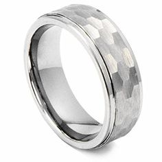 8mm Silver Tungsten Carbide Ring Hammer Comfort Fit Faceted Men Wedding Band