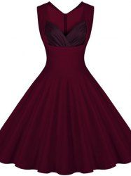 Retro Sweetheart Neck Sleeveless Spliced A-Line Women's Dress