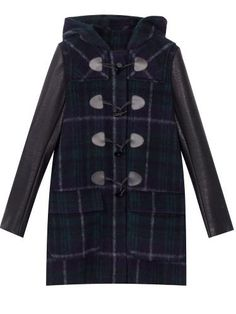 CHECKED DUFFLE COAT WITH FAUX LEATHER SLEEVES from Zara |   COVET ...