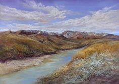 SNOWY PEAKS on the RIO GRANDE one of a kind hand-repainted print matted to fit a readymade x frame by Texas landscape painter Lindy Cook Severns