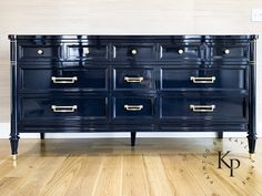 Automotive paint on furniture can be a great option if you're looking for an ultra high gloss coating that dries lightning fast and is hard as nails. Blue Painted Furniture, Navy Furniture, Paint Furniture, Furniture Making, Furniture Makeover, Furniture Decor, Furniture Refinishing, Lacquer Furniture, Refurbished Furniture