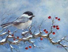 Chicadee on snow branch 8x10 oil painting by by AlexandrasStudio