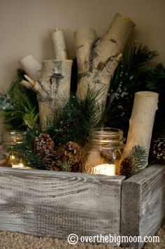 Christmas decor festive candle box.