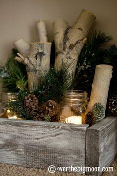 Christmas decor festive candle box.