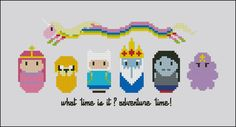 http://cloudsfactory.net/products/cross-stitch-patterns/mini-people/cartoons/adventure-time.html  Adventure Time cross stitch #cloudsfactory
