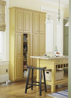 Would love to replace our pantry with cabinets one day. Since the pantry already exists, they could look like this but recessed so the doorfronts are flush with the wall...one day...when we run out of other projects :)
