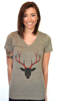 Artisan Tees - Plaid Antlers V-neck Graphic T Shirt Antlers, V Neck T Shirt, Artisan, Plaid, T Shirts For Women, Tees, Cotton, Design, Fashion