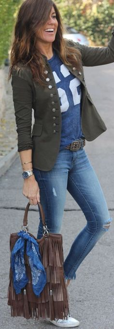 Military Jacket On jeans | Mytenida #military                                                                                                                                                                                 More