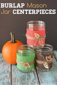 I love making my own DIY fall decorations. These burlap mason jar centerpieces are the newest addition to my decor and they double great as wedding decor! #frugalnavywife #burlapdecor #diydecorations #falldecor #weddingdecor #diycenterpieces #diy | DIY Fall Decor | DIY Wedding Decor | Decorations | Burlap Decor | Mason Jar Ideas | DIY Mason Jar Crafts Burlap Mason Jars, Mason Jar Centerpieces, Mason Jar Crafts, Mason Jar Diy, Diy Crafts To Do, Diy Craft Projects, Fall Crafts, Craft Ideas, Decor Ideas