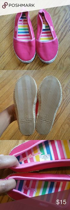 Hanna Andersson Pink Espadrilles Size 2M New, never worn. Insole names are coming off. Darker pink color outlined in lighter pink color. Silver threads intertwined in the jute.   NO TRADES.  NO PAYPAL. Hanna Andersson Shoes