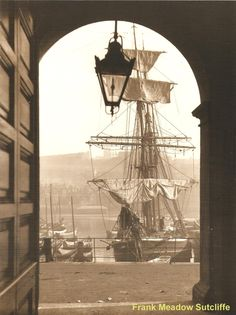 Whitby Dock End from the railway station entrance - by Frank Meadow Sutcliffe