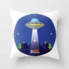 UFO Throw Pillow by fishdesigns Ufo, My Works, Flag, Throw Pillows, Illustration, Prints, Cushions, Illustrations, Science