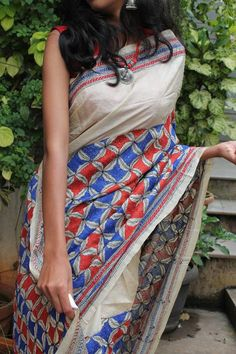 Off-White Pure Tussar Silk Saree With Shantiniketan Nakshi Kantha Work