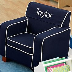 Create a special gift your little one will love with the Kid Kraft Comfy Kid's Personalized Laguna Navy Blue Upholstered Chair. Find the best personalized kid gifts at PersonalizationMall.com