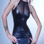 Wetlook Kleid mit Tüll sexy Clubkleid Größe S - 2XL von Klaudia-Dessous