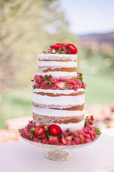 Fresh Strawberry Shortcake Wedding Cake -- Photography: Sara Lynn Photographic - www.saralynnphoto.com Read More: http://www.stylemepretty.com/2014/07/08/colorful-bohemian-wedding-inspiration/