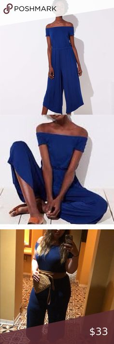 LOFT Beach Off Shoulder Blue Jersey Jumpsuit Super cute, but a little too big for me now. LOFT Dresses