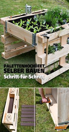 Build yourself a Raised Bed Pallet DIY Ideas Garden .-Bauen Sie sich eine Hochbeetpalette DIY Ideen Garten – diy pallet creations Build yourself a raised bed palette of DIY ideas garden - Raised Garden Planters, Raised Garden Beds, Raised Beds, Pallet Planters, Pallet Gardening, Vegetable Gardening, Indoor Gardening, Balcony Garden, Planter Boxes