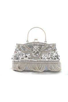 Retro Kiss Lock Closure Sequin Beading Brown Bridal Purses & Handbags