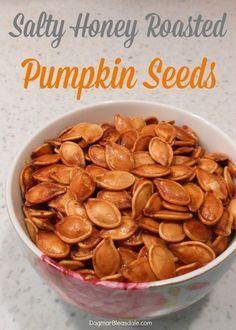 The best! Don't throw out pumpkin seeds - make this! Salty honey roasted pumpkin seeds recipe, so easy! Dagmar's Home, DagmarBleasdale.com #recipe #seeds #fall #pumpkin #honey #roasted