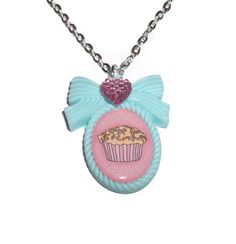 Mint Green Necklace Kawaii Cupcake Cameo by KitschBitchJewellery, $11.99