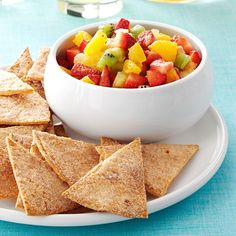 Fruit Salsa with Cinnamon Chips Recipe -I first made this fresh, fruity salsa for a family baby shower. Everyone wanted the recipe. Now, someone makes this juicy snack for just about every family gathering—and I have to keep reminding everyone who introduced it! —Jessica Robinson, Indian Trail, North Carolina