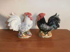 """The colors are beautiful and my pictures do not capture those iridescent hues of color Pepper has 3 holes while salt has 2 holes. Stamped under glaze """"cic china osw"""". One chicken has slight crazing on the bottom. Salt N Pepper, Dear Dad, Red Paint, Salt Pepper Shakers, Cookie Jars, Iridescent, Glaze, Rooster, Stuffed Peppers"""