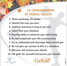 10 Commandments of Mental Health -- Think positively. It's easier. Just this view. Stress Management, Mental Health Counseling, 10 Commandments, Therapy Tools, New Energy, Isfp, Mental Health Awareness, Ptsd, Self Help