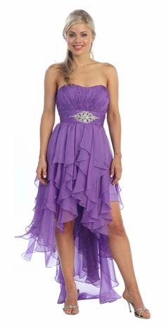 Dark Lilac Dress High Low Chiffon Strapless Layer Skirt Rhinestones $177.99