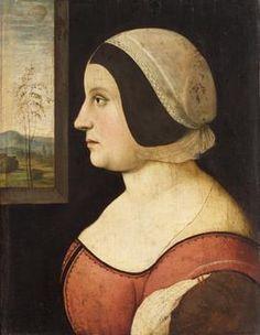 Amico Aspertini 1474 / 75-1552 Bologna?  Painting: Portrait of a woman to ca 1500-1505