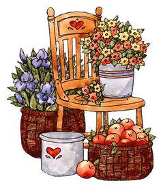flores y frutas...