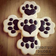 Two Dozen Dog Paw Decorated Cookies by GDcookies on Etsy