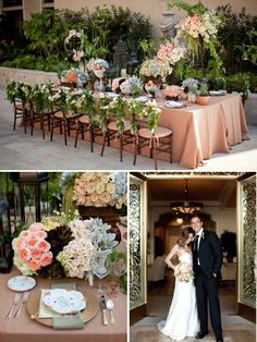 I can see the head table having a peach color table cloth geo.