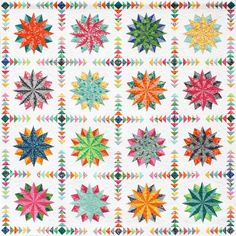 "Harlequin Stars - Terra Australis Version. Designed by Emma Jansen. Finished Quilt Size: 206cms x 206cms (81"" x 81"")"