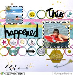 This happened - Heidi Swapp & Creative Scrappers - Scrapbook.com - Fill circles in a patterned paper with embellishments for a playful look.