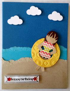 Punch art girl in the beach birthday handmade card by Wanda Perez