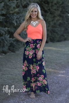 Floral Days Neon Maxi in Navy - The perfect combination of neon on floral for spring. Available from fillyflair.com!