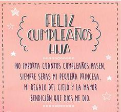 Imagen de una tarjeta de cumpleaños para su hija