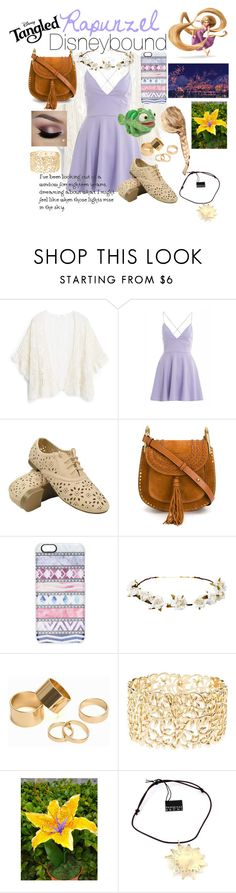 """""""Rapunzel Disneybound"""" by maydayhailee ❤ liked on Polyvore featuring MANGO, AX Paris, Chloé, Casetify, Cult Gaia, Pieces, Charlotte Russe, Benefit, Disney and Pasquale Bruni"""