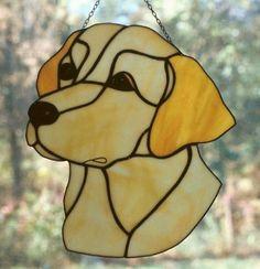 Labrador retriever stained glass