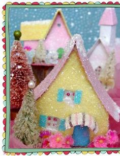 Glitter Village Houses from cereal boxes!  Inspired Ideas, The Christmas Issue