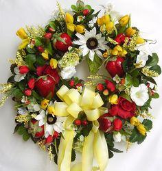 Spring,  Summer, Red ,Yellow Strawberry Silk Flower Door Wreath. $69.95, via Etsy.