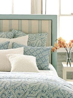 Fabric headboard. I love this, you buy fabric to match your bedspread.