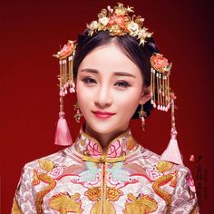 Chinese Bride, Chinese Hair, Asian Hair Pin, Dynasty Clothing, Bridal Headdress, Wedding Costumes, Beauty Portrait, Chinese Clothing, Chinese Culture