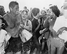 U.S President Kennedy In Wet Swim Trunks & Ladies Vintage Reprint 8x10 Old Photo